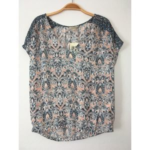NEW Macy's LUCKY BRAND MIXED PRINT TOP SIZE SMALL